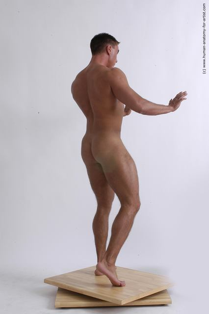 Nude Man White Standing poses - ALL Muscular Short Brown Standing poses - simple