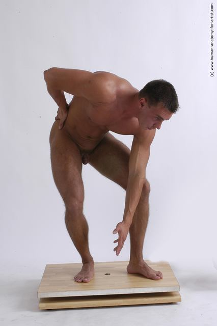 Nude Man White Standing poses - ALL Muscular Short Brown Standing poses - bend over