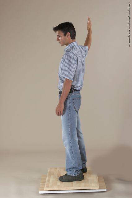 Casual Man White Moving poses Slim Short Black