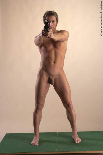 Nude Fighting with gun Man White Standing poses - ALL Athletic Short Brown Standing poses - simple