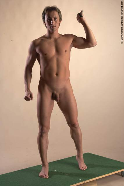 Nude Daily activities Man White Standing poses - ALL Athletic Short Brown Standing poses - simple