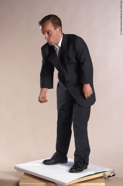 Business Man White Moving poses Slim Short Brown