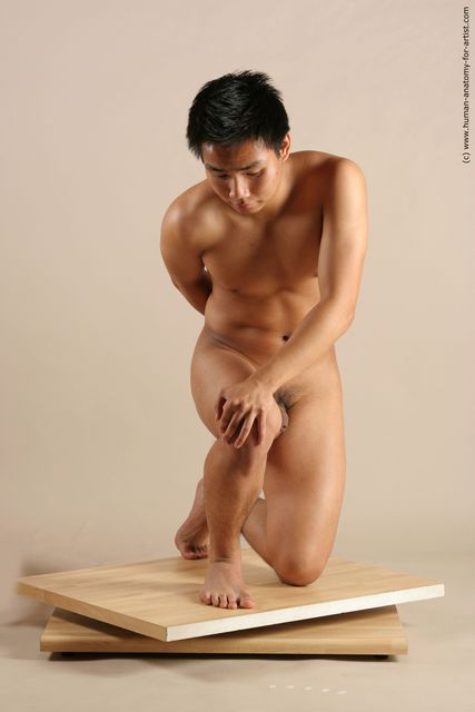 Nude Man Asian Kneeling poses - ALL Slim Short Kneeling poses - on one knee Black