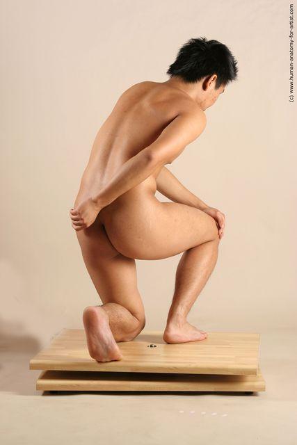 Nude Man Asian Kneeling poses - ALL Slim Short Kneeling poses - on one knee Black