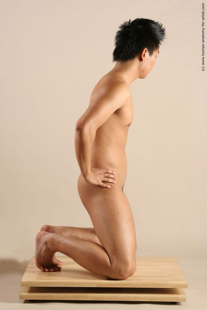 Nude Man Asian Kneeling poses - ALL Slim Short Black