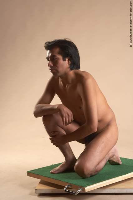 Nude Man Another Kneeling poses - ALL Slim Short Kneeling poses - on one knee Black