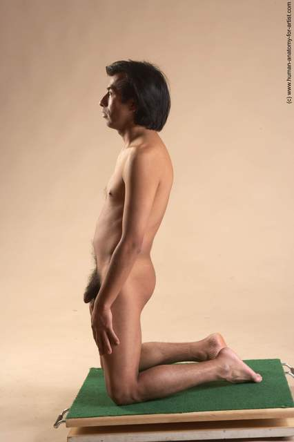 Nude Man Another Kneeling poses - ALL Slim Short Kneeling poses - on both knees Black