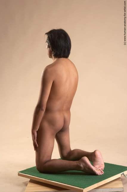 Nude Man Another Kneeling poses - ALL Slim Short Kneeling poses - on both knees Black