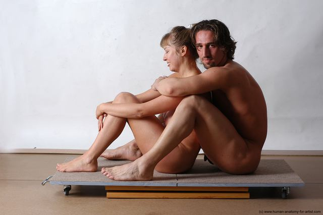 Nude Woman - Man White Laying poses - ALL Slim Short Brown Laying poses - on back