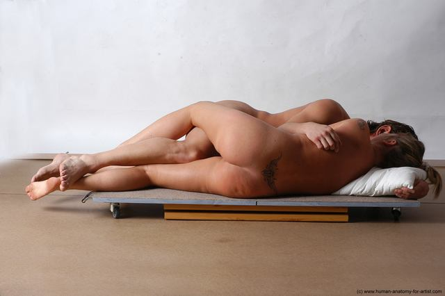 Nude Woman - Man White Laying poses - ALL Slim Short Brown Laying poses - on side