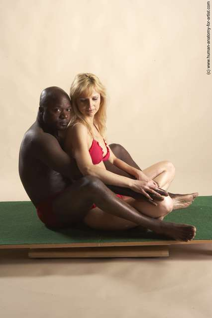 Underwear Woman - Man Black Laying poses - ALL Average Bald Laying poses - on back