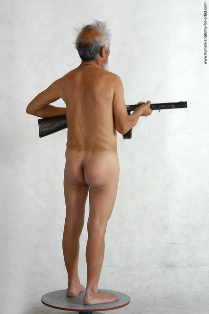 and more Nude Fighting with submachine gun Man White Standing poses - ALL Slim Bald Grey Standing poses - simple