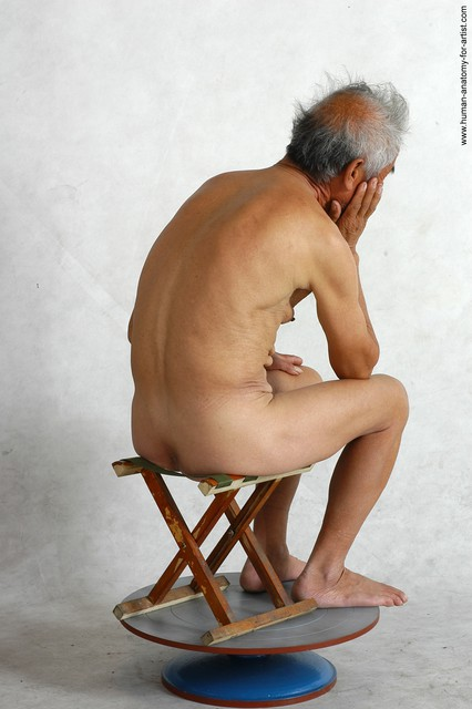 and more Nude Man Asian Sitting poses - simple Slim Short Grey Sitting poses - ALL