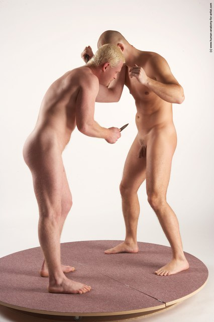 Nude Fighting with axe Man - Man White Standing poses - ALL Slim Bald Standing poses - simple