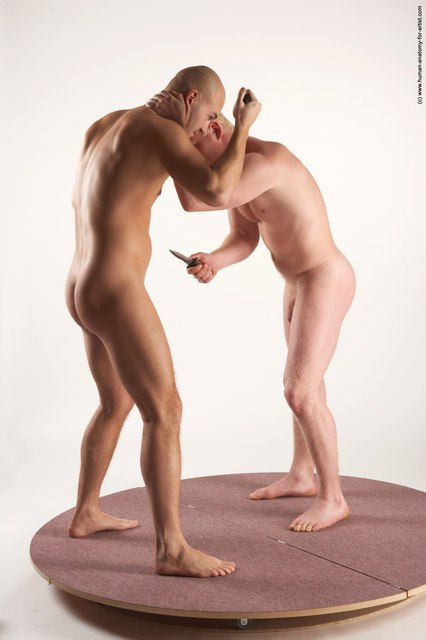 Nude Fighting with knife Man - Man White Standing poses - ALL Slim Bald Standing poses - simple