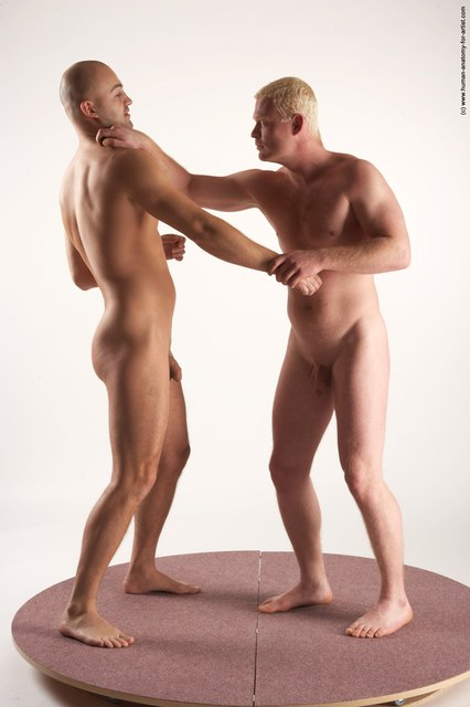 Nude Martial art Man - Man White Standing poses - ALL Slim Bald Standing poses - simple