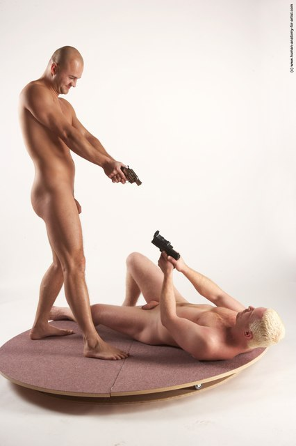 Nude Fighting with gun Man - Man White Standing poses - ALL Slim Bald Standing poses - simple
