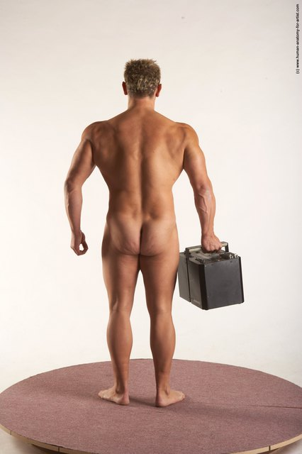 Nude Holding Man White Muscular Short Blond