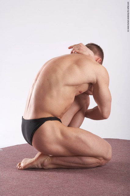 Swimsuit Man White Kneeling poses - ALL Muscular Short Brown Kneeling poses - on one knee