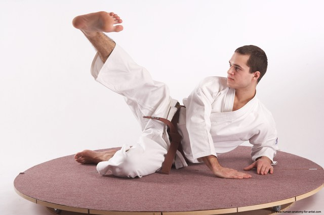 Sportswear Martial art Man White Kneeling poses - ALL Athletic Short Brown Kneeling poses - on one knee