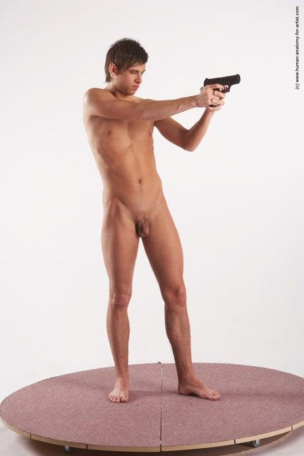 Nude Fighting with gun Man White Standing poses - ALL Slim Short Blond Standing poses - simple