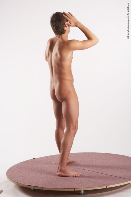 Nude Man White Standing poses - ALL Slim Short Blond Standing poses - simple