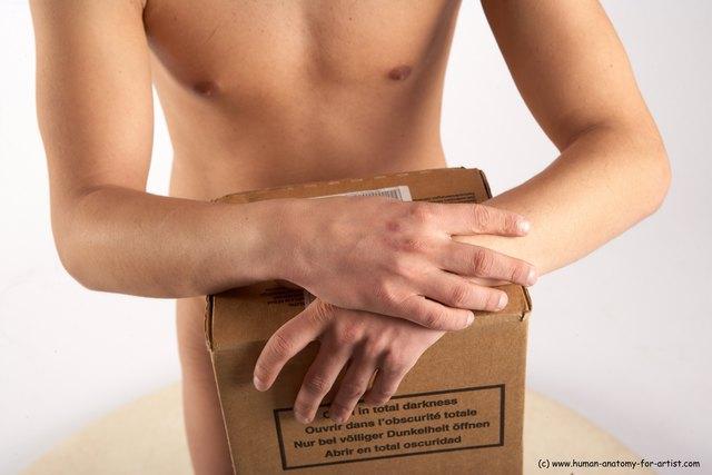 Nude Holding Man White Detailed photos Slim Short Brown