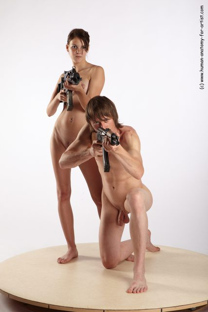Nude Fighting with submachine gun Woman - Man White Kneeling poses - ALL Slim Short Brown Kneeling poses - on one knee