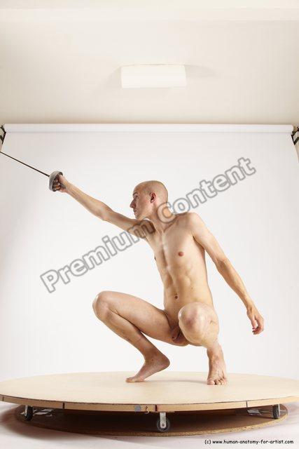 Nude Fighting with sword Man White Perspective distortion Slim Bald Multi angles poses