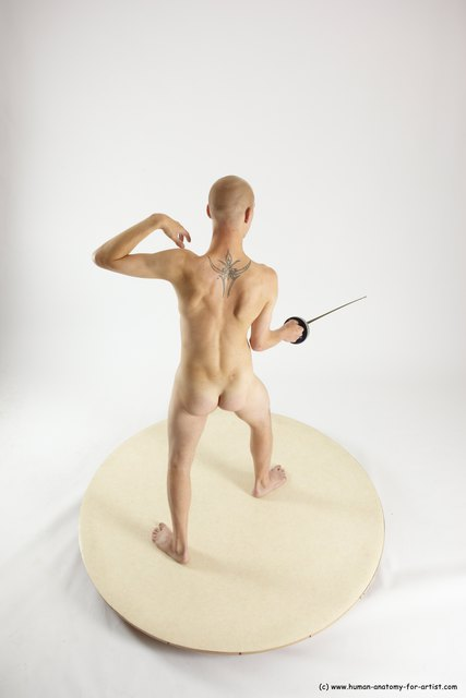 Nude Fighting with sword Man White Standing poses - ALL Slim Bald Standing poses - simple Multi angles poses
