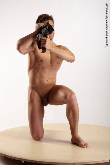 Nude Fighting with submachine gun Man White Kneeling poses - ALL Muscular Kneeling poses - on one knee
