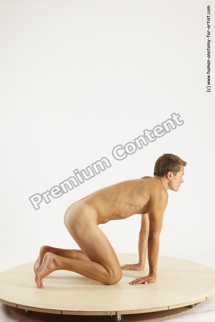 Nude Man White Kneeling poses - ALL Athletic Short Brown Kneeling poses - on both knees Multi angles poses