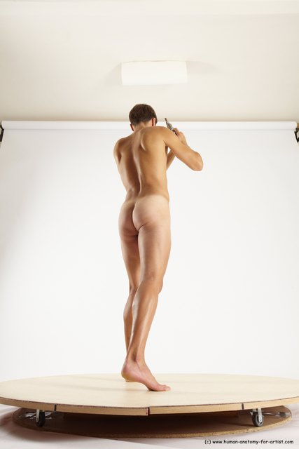 Nude Fighting with gun Man White Standing poses - ALL Athletic Short Brown Standing poses - simple Multi angles poses
