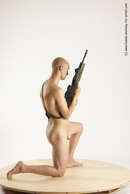 Nude Fighting with submachine gun Man White Kneeling poses - ALL Slim Bald Kneeling poses - on one knee Multi angles poses