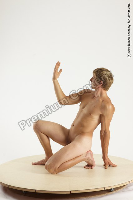 Nude Man White Kneeling poses - ALL Athletic Short Brown Kneeling poses - on one knee Multi angles poses