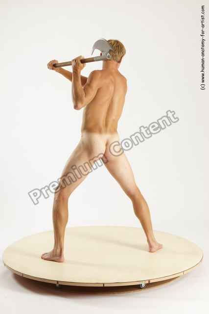 Nude Fighting with axe Man White Standing poses - ALL Athletic Short Brown Standing poses - simple Multi angles poses