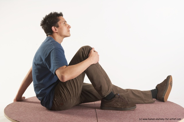 Casual Man White Sitting poses - simple Slim Short Brown Sitting poses - ALL