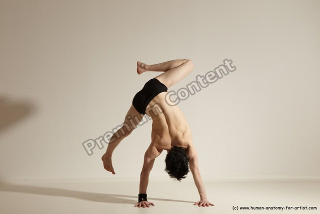 Underwear Gymnastic poses Man White Athletic Short Black Dancing Dynamic poses