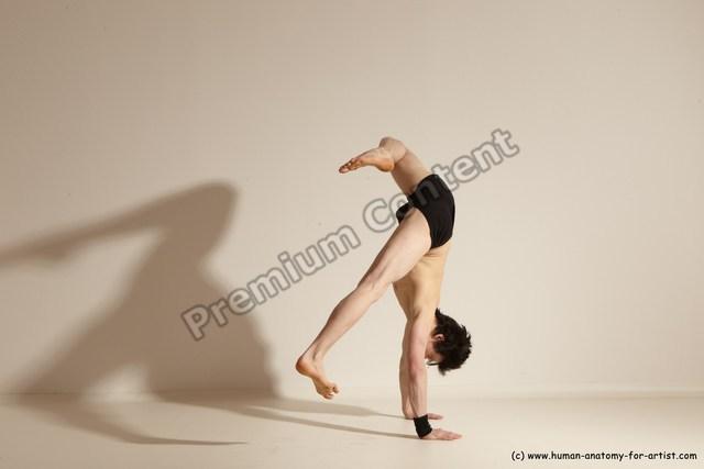 Underwear Gymnastic poses Man White Athletic Short Black Dancing Dynamic poses