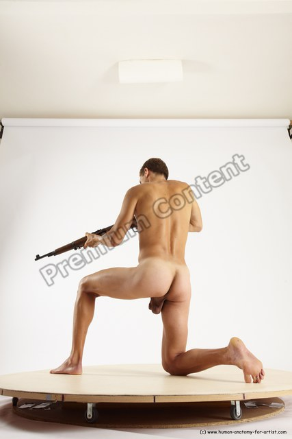 Nude Fighting with rifle Man White Standing poses - ALL Athletic Short Brown Standing poses - simple Multi angles poses