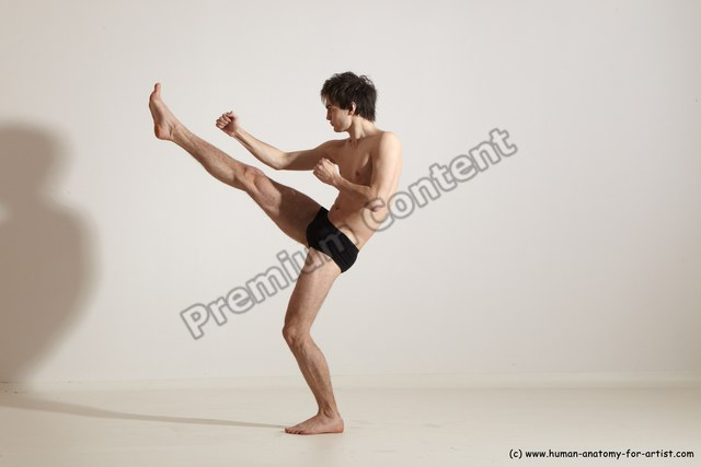 Underwear Martial art Man White Standing poses - ALL Athletic Short Brown Standing poses - simple Dynamic poses