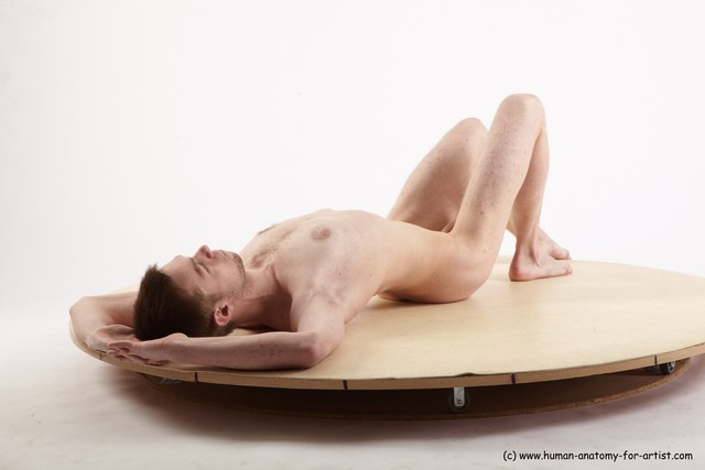 Nude Man White Laying poses - ALL Slim Short Brown Laying poses - on back