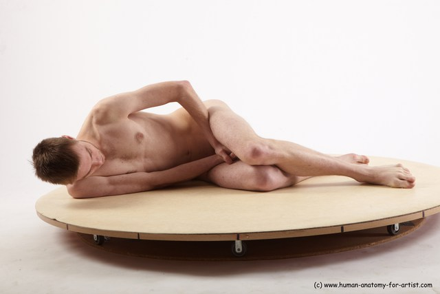 Nude Man White Laying poses - ALL Slim Short Brown Laying poses - on side