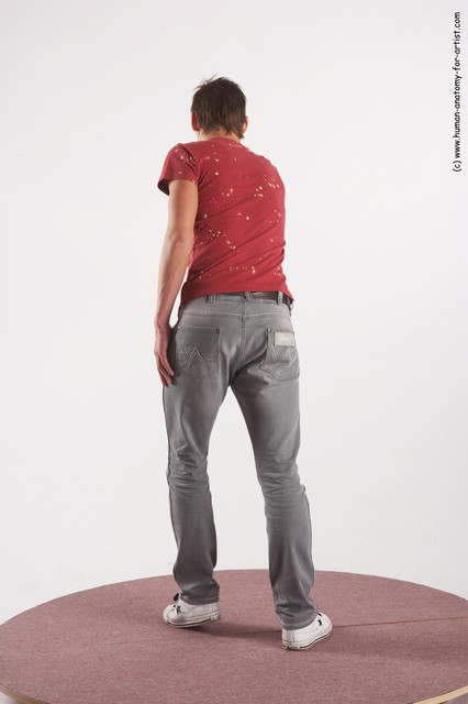 Casual Man White Moving poses Slim Short Brown