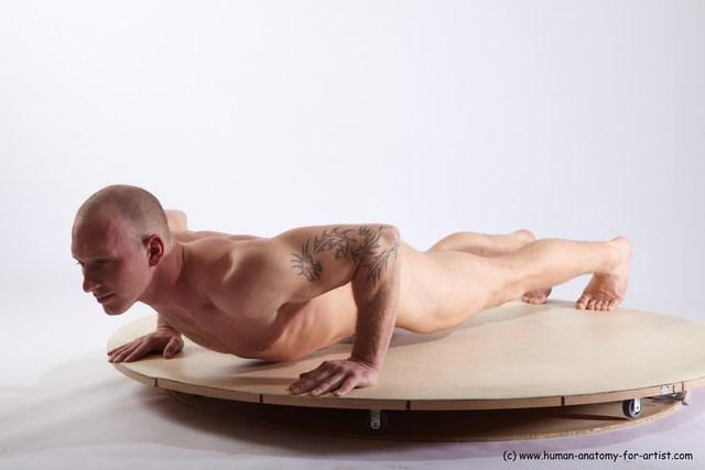 Nude Man White Laying poses - ALL Athletic Short Brown Laying poses - on stomach