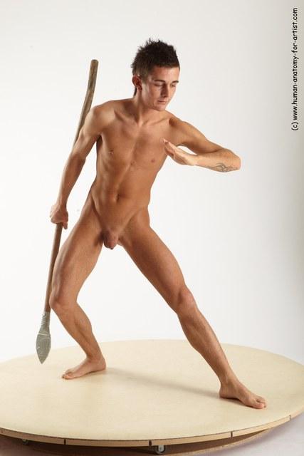 Nude Man White Kneeling poses - ALL Athletic Short Brown Kneeling poses - on one knee