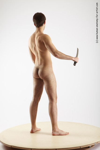 Nude Fighting with sword Man White Standing poses - ALL Slim Short Brown Standing poses - simple