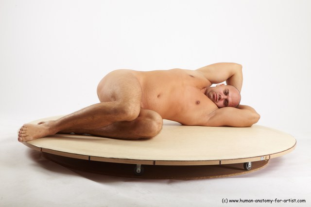 Nude Man White Laying poses - ALL Slim Bald Laying poses - on side