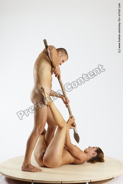 Nude Fighting with spear Woman - Man White Laying poses - ALL Slim Short Brown Laying poses - on back Multi angles poses