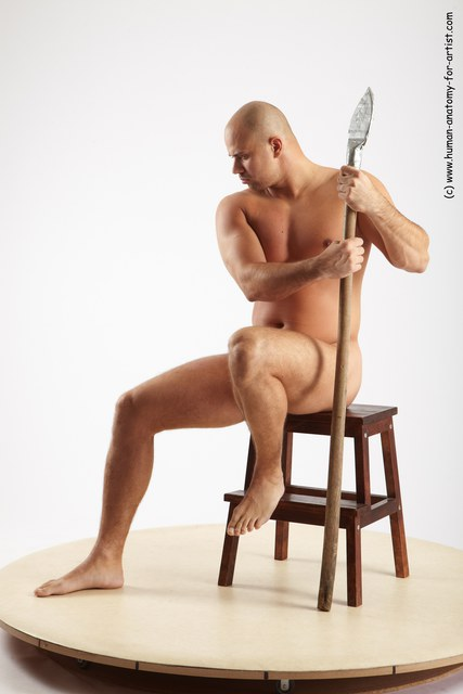 Nude Man White Sitting poses - simple Slim Bald Sitting poses - ALL